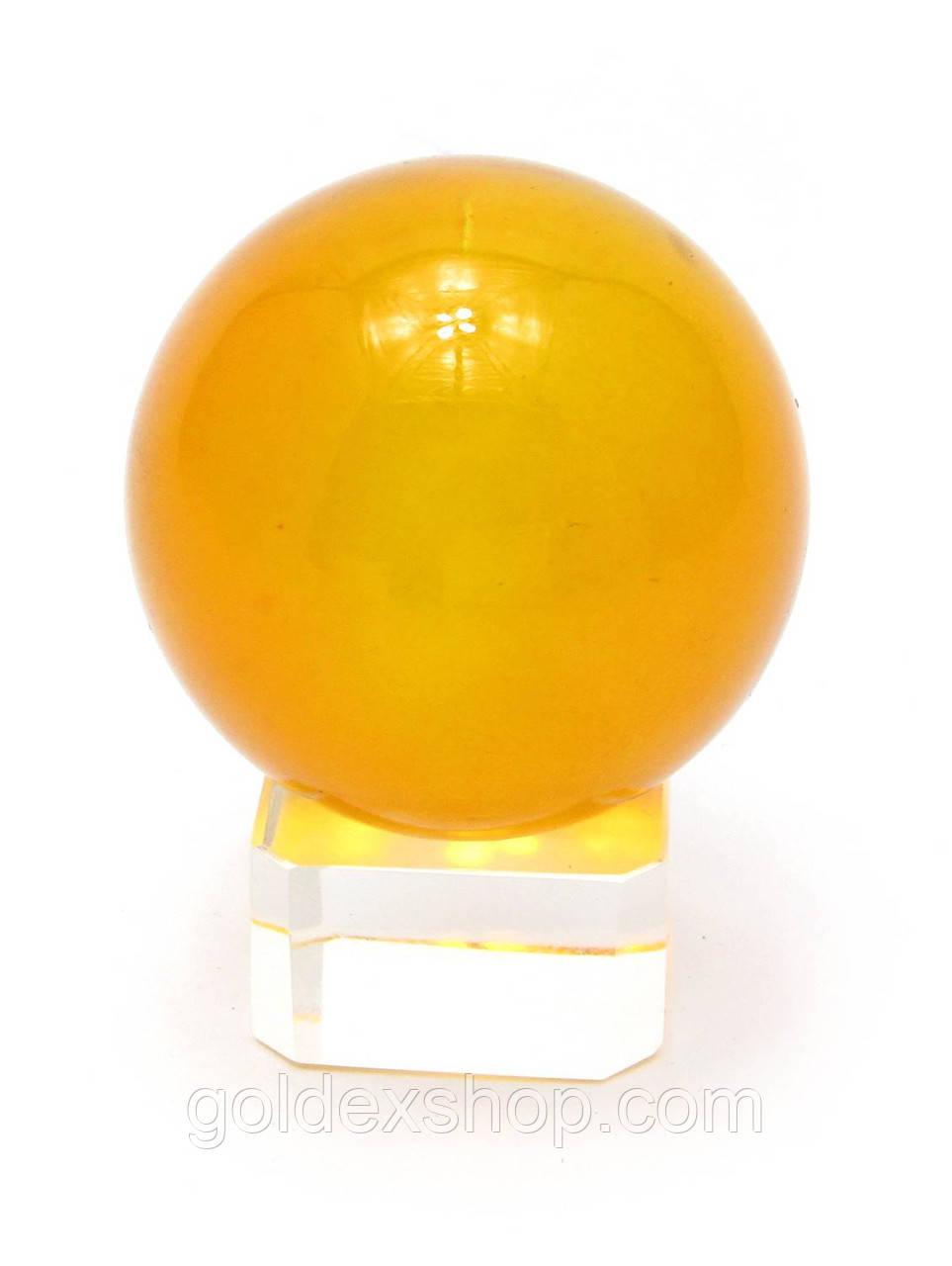 Шар хрустальный на подставке оранжевый (4 см)