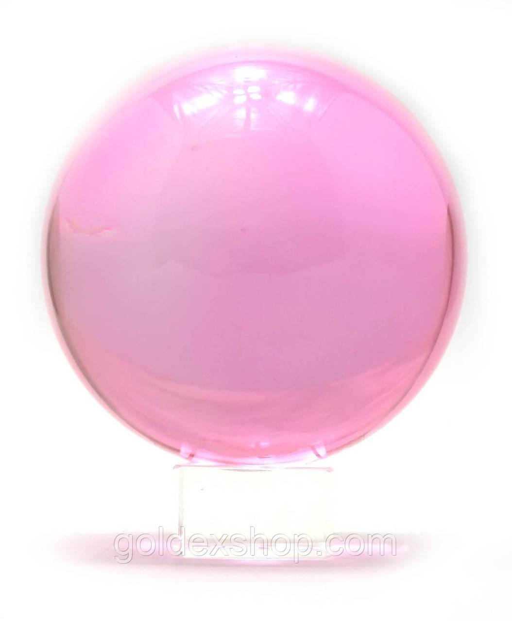 Шар хрустальный на подставке розовый (13,7х11х11 см)