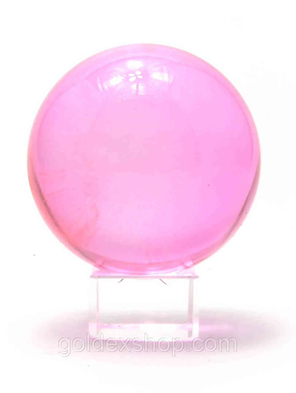 Шар хрустальный на подставке розовый (8см)