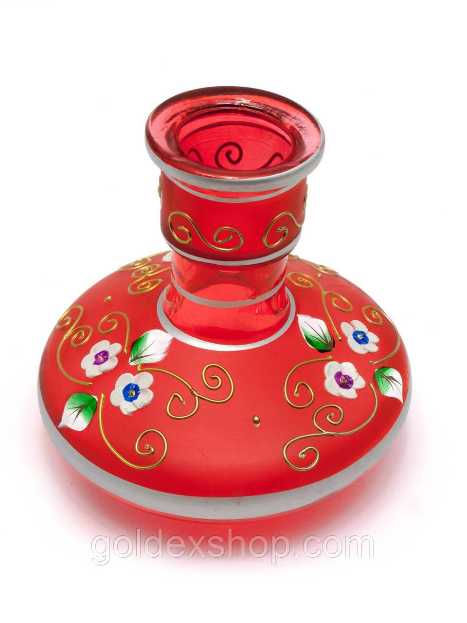 Колба для кальяна стекло красная (13,5х13х13 см d-4 см)
