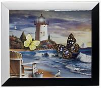 Бабочки в рамке на фоне (34,5х29,5х3 см)
