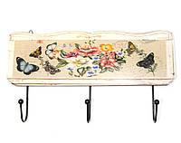 """Вешалка для одежды """"Цветы и Бабочки"""" (30х16,5х4 см)"""
