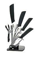 Набор ножей керамических (подставка + 4 ножа + овощечистка) Черно-белый