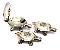 "Пепельницы бронзовые ""Черепахи"" набор 3 шт (12х7см13х7,5см14,5х9,5 см)"
