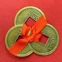 Монеты (3 шт) (2,5см) в кошелек темные красная ленточка