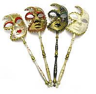 Маска венецианская карнавальная для лица с ручкой  (47х13х6,5 см)