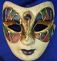 Маска карнавальная Венецианская для лица из папье-маше (23см)