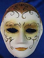 Маска карнавальная Венецианская для лица из папье-маше (25см)