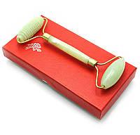 Массажер нефритовый двойной валик+ежик с ручкой в футляре (17х8,5х2 см)