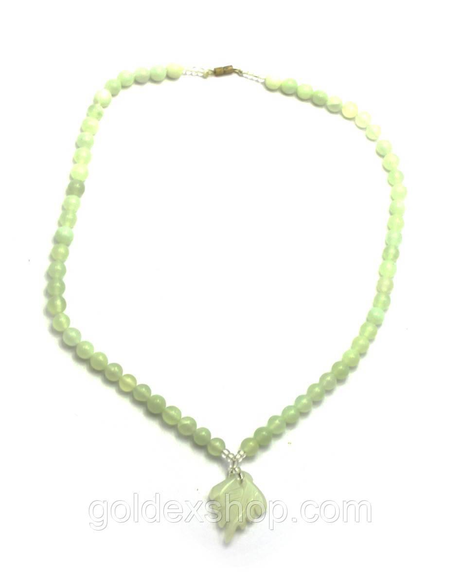 Ожерельлье нефритовое с кулоном (33 см)