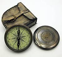 Компас бронзовый в кожаном чехле (d-8 ,h-2 см)