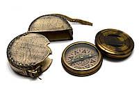"""Компас в кожаном чехле """"Librurnia warship"""" антик, бронзовый (d-8,h-2 см)"""