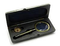 Лупа с компасом в деревянном футляре (23,5х11х4 см) Лупа (d-8см, h-20см.) Компас (d-3,8см)