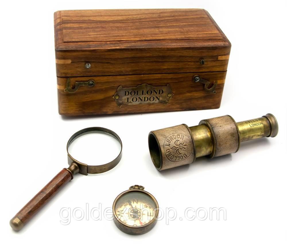 Подарунковий морський набір (телескоп,лупа,компас) у футлярі (16,5х9,5х7,5 см)
