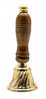Дзвіночок з дерев'яною ручкою бронзовий (13х5х5 см)