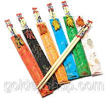 Палочки для еды бамбуковые с рисунком в футляре (набор 6 пар) (25х14х0,5 см)