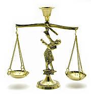 """Подсвечник """"Весы"""" бронзовый (12х15,5х5 см) (Lady Balance Small)"""