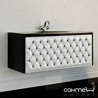 Мебель для ванных комнат и зеркала Marsan Тумба подвесная со стеклянной раковиной Marsan Virginie 1200 корпус чёрный, фасад жемчуг