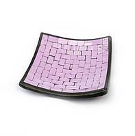 Блюдо терракотовое с фиолетовой мозаикой (14,5х14,5х2 см)