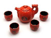 """Сервиз керамический """"Дракон"""" (чайник 670мл, h-11см, d-11см; 4 чашки 40мл, h-5см, d-5,5см)"""
