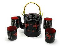 Сервиз керамический (чайник 700мл, h-13,5см, d-9см; 4 чашки 130мл, h-7,3см, d-6см) (28х16х12см)