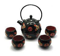 Сервиз керамический (чайник 730мл, h-14см, d-11,5см; 4 чашки 100мл, h-5,5см, d-6,5см)