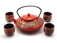 Сервиз керамический (чайник 900мл, h-7см, d-19см;4 чашки, h-5,5см, d-5,5см) (35х20,5х6,5 см)