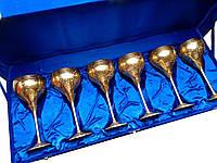 Бокалы бронзовые позолоченые (н-р 6 шт/250мл.) (h-19 см) (64х23,5х10 см)