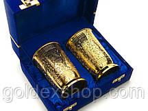 """Бокалы из бронзы """"Золоченые с орнаментом"""" (набор 2 шт/300мл.) (h-11см) (19х15х8 см)"""