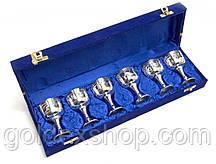 Бокалы металлические из бронзы посеребренные (h-8 см) (набор 6 шт) (38х11х6 см)