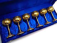 Рюмки бронзовые позолоченные (н-р 6 шт/100мл.) (h-11.5 см) (43х15х8 см)