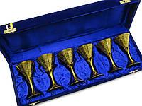 Рюмки бронзовые позолоченные (н-р 6 шт/50мл.) (h-11 см) (43х15х8 см)