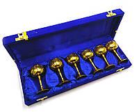 Рюмки бронзовые позолоченные (н-р 6 шт/50мл.) (h-9 см) (36х12х5 см)