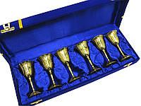 Рюмки бронзовые позолоченные (н-р 6 шт/60мл)h-10 см (39х10х6 см)