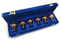 Рюмки бронзовые позолоченные (н-р 6 шт/80мл) (h-6,5) (39х10х6 см)