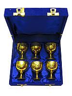 Рюмки бронзовые позолоченые (н-р6шт/45мл) h-5,5 (18,5х15,5х5,5 см)