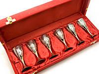 Рюмки бронзовые посеребренные (н-р 6шт) (h-9.5 см) (34,3х12,5х5,5 см)