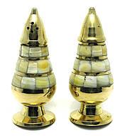 Солонка ,перечница бронза с перламутром (н-р 2 шт) (11х4 см)