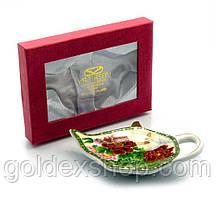 """Подставка под чайные пакетики (11,5см.) (TBP1070) """"Пионы с бабочкой"""""""