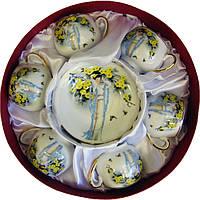"""Сервиз кофейный фарфоровый """"Китаянка"""" (110 мл) 6 чашек+ 6 блюдец (h-5,5см, d-5см,d блюдца 11 см)"""