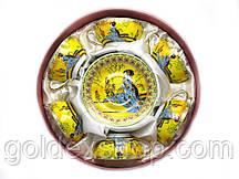 """Сервиз кофейный фарфоровый """"Китаянка на желтом фоне"""" (70мл.) 6 чашек+ 6 блюдец (h-4см, d-7,3см,d блюдца 11 см)"""
