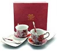 "Сервиз фарфор (170 мл) (2C1229) 2 чашки + 2 блюдца ""Цветы"" (h-6,5 см,d-8,5см,блюдце 21х12 см)"