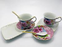 "Сервиз фарфор (170 мл) (2C3133) 2 чашки + 2 блюдца ""Цветы"" (h-6,5 см,d-8,5см,блюдце 21х12 см)"