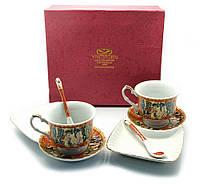 "Сервиз фарфор (170 мл) (2C86-1) 2 чашки + 2 блюдца ""Красный"" (h-6,5 см,d-8,5см,блюдце 21х12 см)"