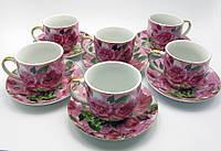 """Сервиз фарфор (170мл) (6HPC3032-8) 6 чашек +6 блюдец """"Цветы"""" (h-7см., d-7,5см.)"""