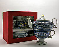 """Сервиз фарфор (3TA1003-5) 1 чайник + 1 чашка """"Павлины"""" (200/400 мл чашка/чайник)"""