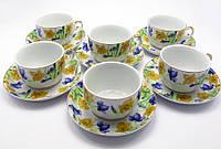 """Сервиз фарфор (6H-GCA1088) 6 чашек + 6 блюдец """"Цветы"""" (150 мл) (h-5,5 см,d-8,5 см, блюдце d-13,5 см)"""