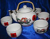 """Сервиз фарфор (TSR6017-5) 1 чайник+6 чашек """"Дракон"""" (200/800 мл, чашка/чайник)"""