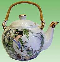 """Чайник фарфор с бамбуковой ручкой (750мл.) (TPR172) """"Китаянка под ивой"""""""