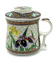 """Чашка заварочная с ситом (300мл.) """"Цветы"""" (h-9cм, d-8см)"""